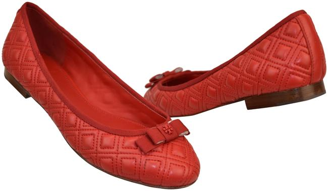 Tory Burch Red Marion Quilted Leather Grosgrain Bow Reva Ballet Flats Size US 6.5 Regular (M, B) Tory Burch Red Marion Quilted Leather Grosgrain Bow Reva Ballet Flats Size US 6.5 Regular (M, B) Image 1