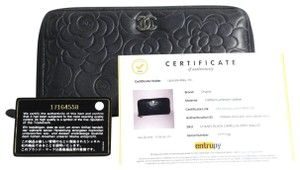 Chanel Chanel Black Camellia Zip Around Wallet 2012