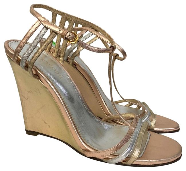 Sergio Rossi Metallic 8 Tricolor Wedges Gold Silver Rose Gold Sandals Size US 7.5 Regular (M, B) Sergio Rossi Metallic 8 Tricolor Wedges Gold Silver Rose Gold Sandals Size US 7.5 Regular (M, B) Image 1