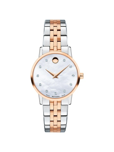Movado Mother Of Pearl Two Tone Museum Diamond H.marker Gold Stainless Steel Quartz Round Ladies Watch Movado Mother Of Pearl Two Tone Museum Diamond H.marker Gold Stainless Steel Quartz Round Ladies Watch Image 1