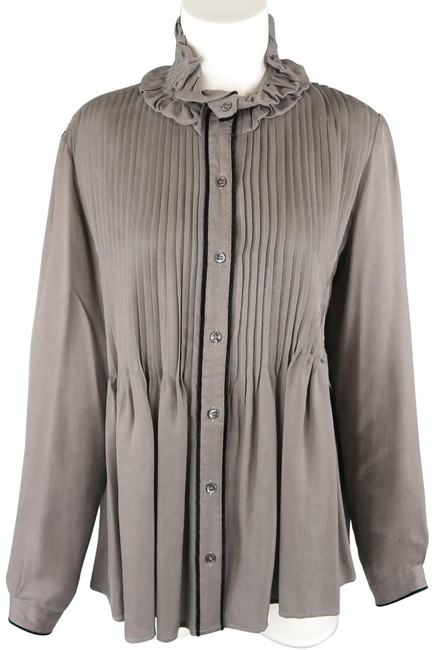 Etro Gray Oversized Comes In Twill with A Gathered Collar Velv Blouse Size 6 (S) Etro Gray Oversized Comes In Twill with A Gathered Collar Velv Blouse Size 6 (S) Image 1
