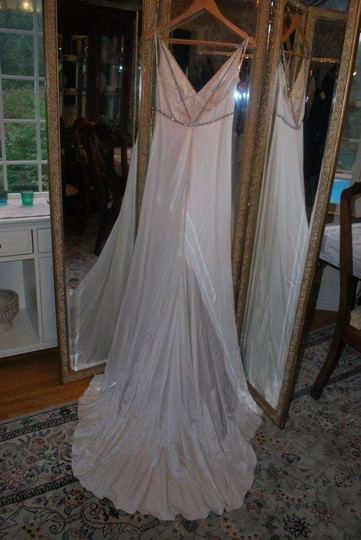 Jim Hjelm Occasions White Silk 8501 Destination Wedding Dress Size 4 (S)