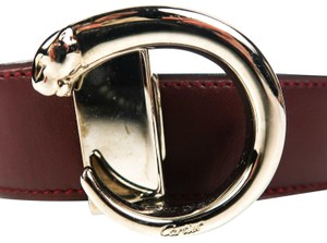 Cartier Panthere Belt Red Leather Silver Logo Buckle Panther