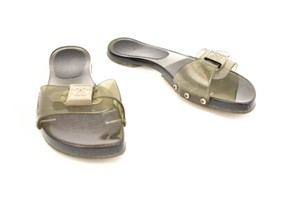 Chanel Cc Logo Jelly Silver Gray Sandals
