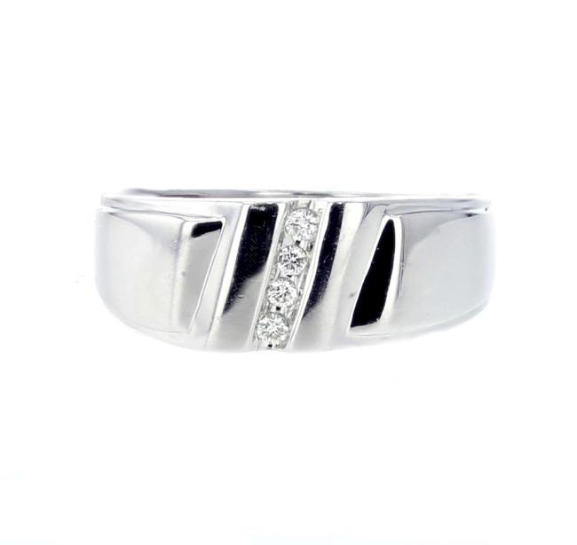 Unbranded White Gold Band Mens 10k 8.5mm Wide 0.10ct Diamonds Comfort Fi Ring Unbranded White Gold Band Mens 10k 8.5mm Wide 0.10ct Diamonds Comfort Fi Ring Image 1