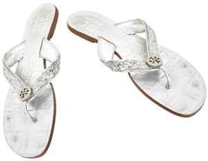 Tory Burch Double T Logo Glitter Silver Sandals