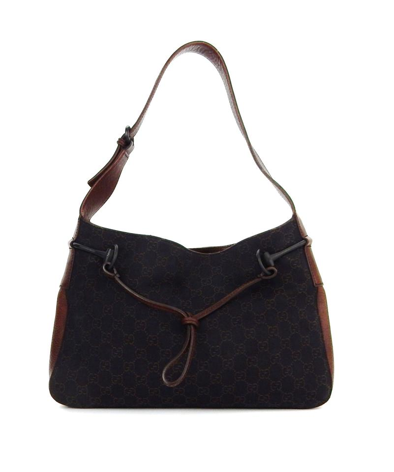 d9c914b1ba3 Gucci Gg Monogram Black Brown Canvas Leather Shoulder Bag - Tradesy