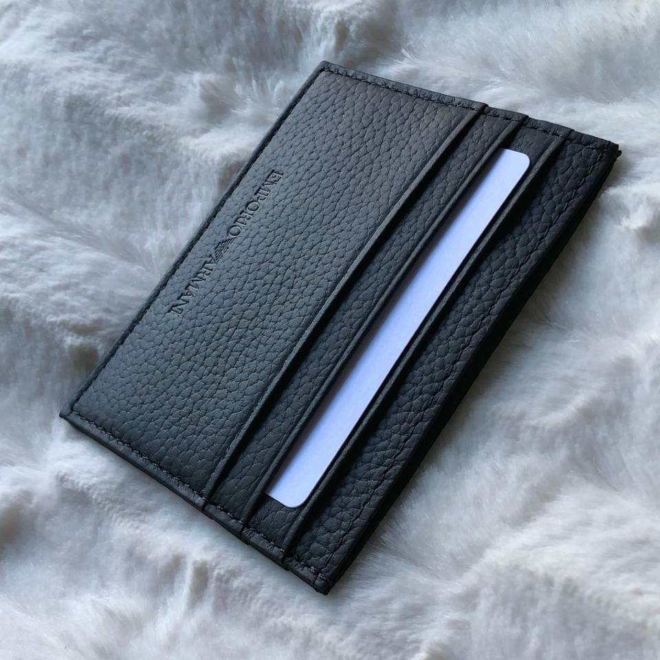 35bca524a8 Emporio Armani Black Cardholder In Hammered Leather Wallet 15% off retail