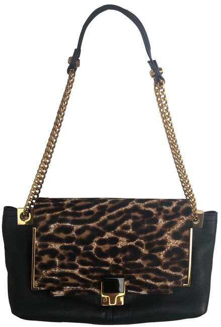 Lanvin Black Leopard Print & Yellow Gold Calf Hair Calf Skin Shoulder Bag Lanvin Black Leopard Print & Yellow Gold Calf Hair Calf Skin Shoulder Bag Image 1