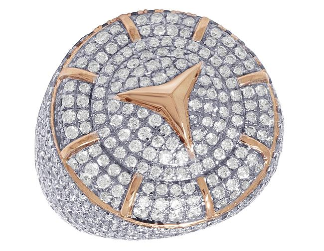 Jewelry Unlimited 10k Rose Gold Real Diamond Mercedes Pinky 6.5 Ct 26mm Ring Jewelry Unlimited 10k Rose Gold Real Diamond Mercedes Pinky 6.5 Ct 26mm Ring Image 1