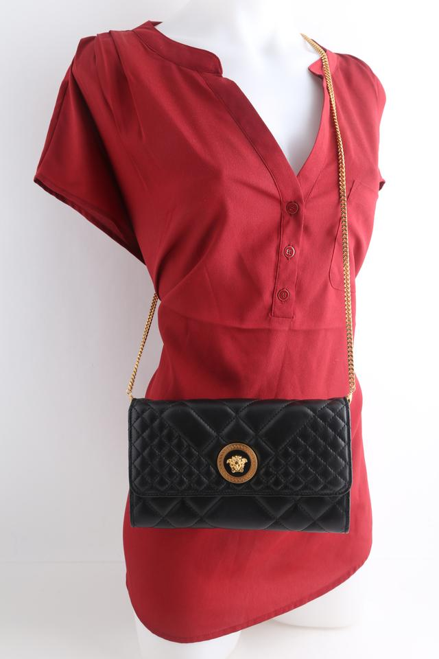 998138aeeb Versace Evening Quilted Icon Black Leather Cross Body Bag 20% off retail