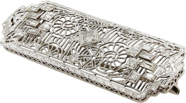 Modern Vintage 18259 Art Deco Diamonds Platinum & 14k White Gold Filigree Pin Brooch Modern Vintage 18259 Art Deco Diamonds Platinum & 14k White Gold Filigree Pin Brooch Image 1