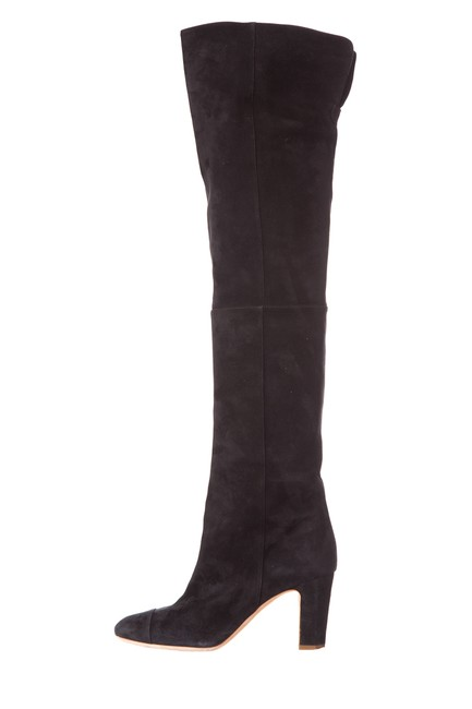Chanel Black Suede Over-the-knee Boots/Booties Size EU 38 (Approx. US 8) Regular (M, B) Chanel Black Suede Over-the-knee Boots/Booties Size EU 38 (Approx. US 8) Regular (M, B) Image 1