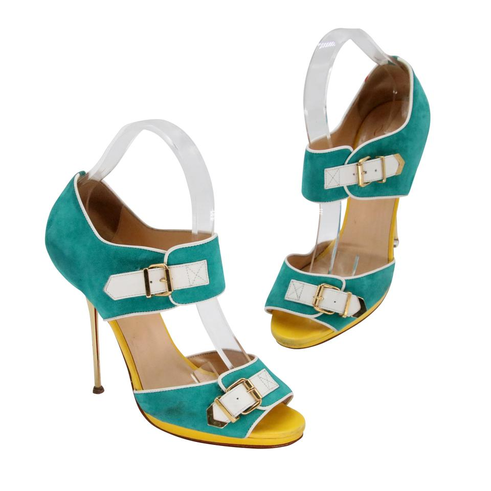 1500cc9b79e Christian Louboutin White Teal Yellow Gold Buckle Suede Peep Toe Heels  Pumps Size US 9 Regular (M, B) 63% off retail