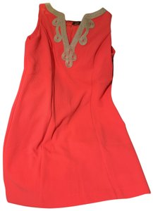 Vince Camuto short dress Bright Coral Sheath Stretchy Gold Neckline Lined Bust Area Zip Up Back on Tradesy