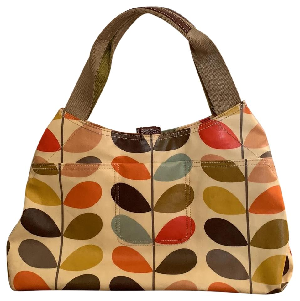 8bcd7ff3c Orla Kiely First Collection Signature Stem Print Multicolor Coated Canvas  Shoulder Bag