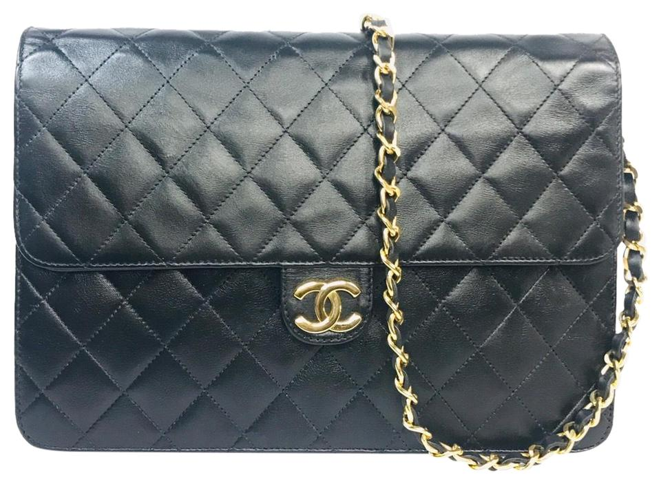 84a2c9715cd690 Chanel Classic Flap ❤️vintage Cc Logos Quilted Chain Black Leather Shoulder  Bag