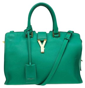 Saint Laurent Suede Leather Tote in Green