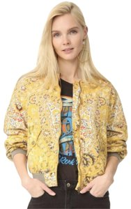 Free People Bomber Silk Quilted Print Classic Yellow Jacket