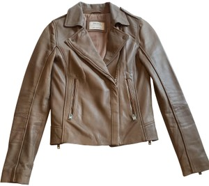 Zara Studded Fitted Tan Leather Jacket