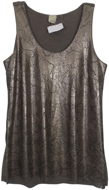 Item - Bronze / Taupe Ecru Embellished Perforated Leather Tank Blouse Size 6 (S)