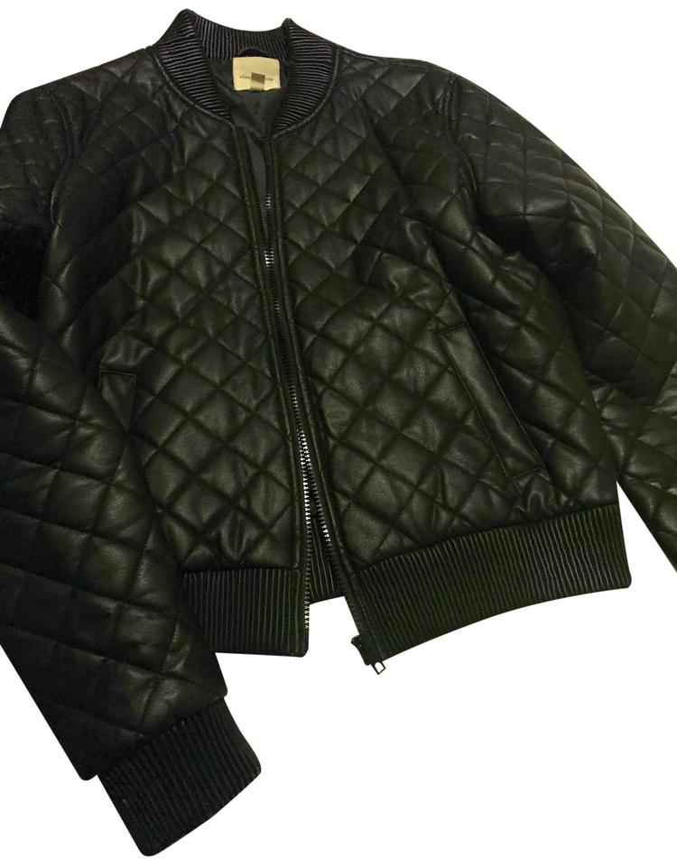 404ae29e Silence + Noise Black Quilted Bomber Jacket Size 12 (L) - Tradesy