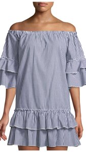 Romeo & Juliet Couture short dress blue and white vertical stripes on Tradesy