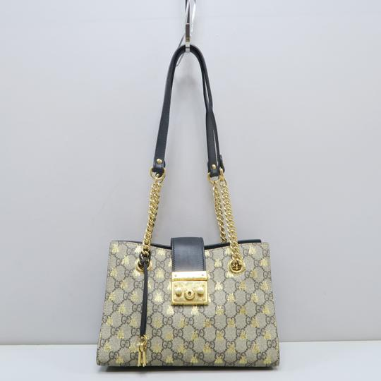 86aad7f0e6f Gucci Supreme Gg Bee Grey Canvas Shoulder Bag - Tradesy