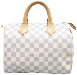 3a0faae34b66 Louis Vuitton Damier Azur Speedy 25 Canvas Tote in White