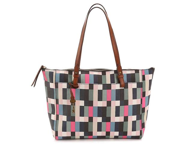 Item - 'rachel' Blue Pink Black White Coated Canvas and Leather Tote