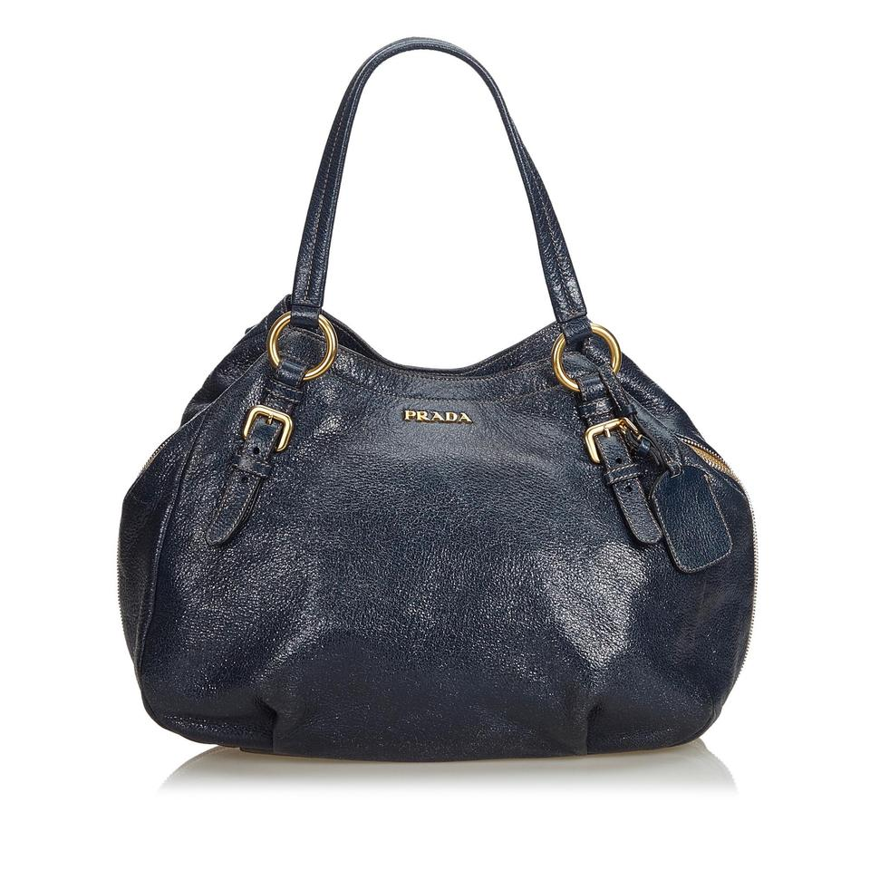 43967ff1754a Prada Navy Metallic Cervo Italy Medium Blue Leather Hobo Bag - Tradesy