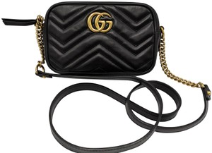 0fbbca0ef22 Gucci Marmont Gg Matelasse Camera Black Leather Cross Body Bag - Tradesy