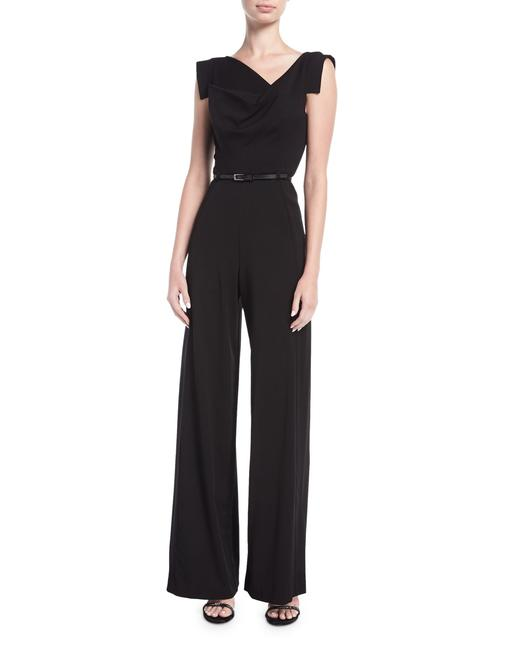 Black Halo Jackie O Classic Cap-sleeve Belted Wide-leg Romper/Jumpsuit Black Halo Jackie O Classic Cap-sleeve Belted Wide-leg Romper/Jumpsuit Image 1