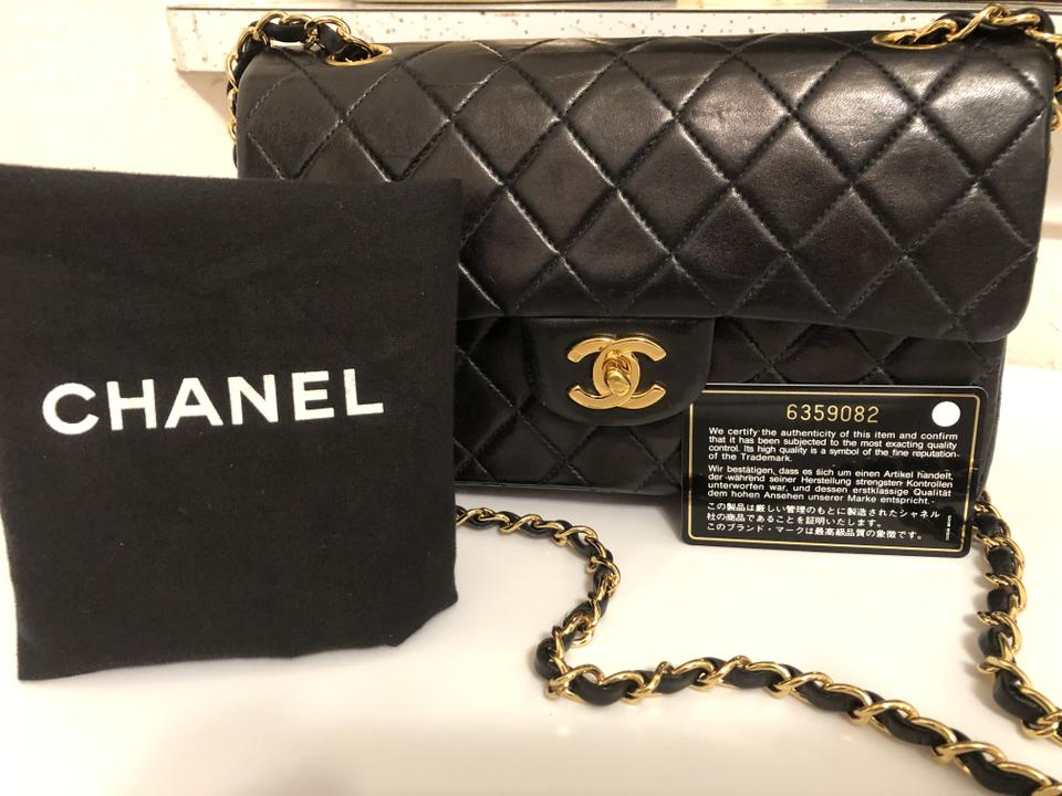 ba1299a2d0b1 Chanel Classic Flap Small Classic Double Black Lambskin Leather ...