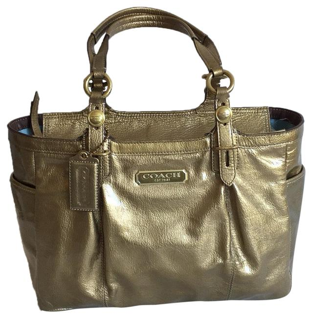 Coach Top Zip Gold Patent Leather Tote Coach Top Zip Gold Patent Leather Tote Image 1