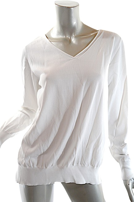 Item - Rayon Blend Knit V Neck Poly Crepe Rear White Sweater