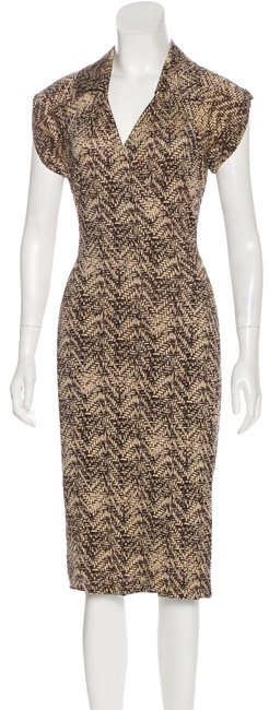 Item - Brown Tan Delphine Print Mid-length Short Casual Dress Size 6 (S)