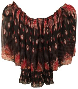 Ultra Pink Sheer And Print Top Black, Red