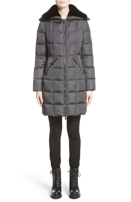Item - Grey W Davida Quilted Down W. Removable Genuine Lamb Fur Collar Coat Size 4 (S)