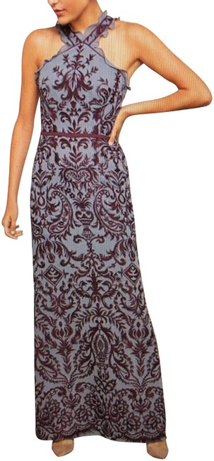 Item - Blue Multi Embroidered Chiffon Halter Gown Long Formal Dress Size 4 (S)