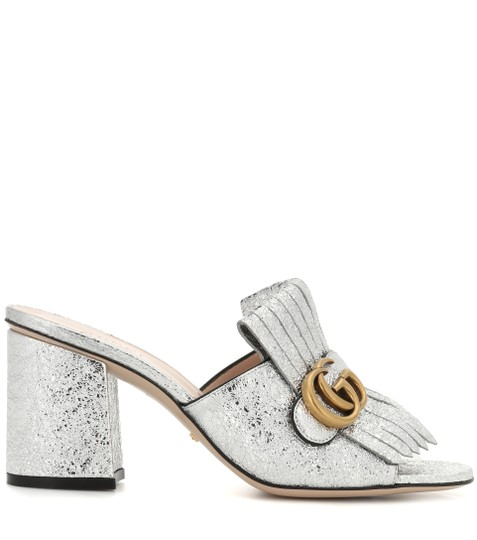 e117c4741526 Gucci Silver Marmont Fringed Sandals Princetowns Mules Slides Size ...