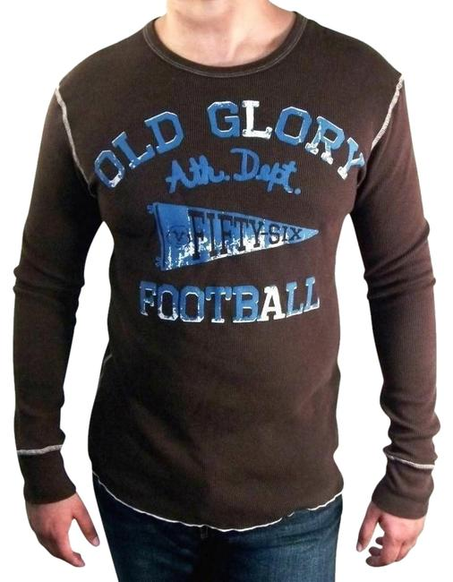 Item - Brown/Blue Multi-color Brand Jeans Old Glory Football Thermal Tee Shirt Size 16 (XL, Plus 0x)