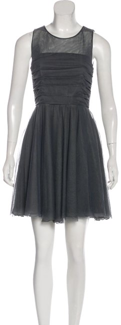 Item - Grey Ruched Tulle Short Cocktail Dress Size 4 (S)
