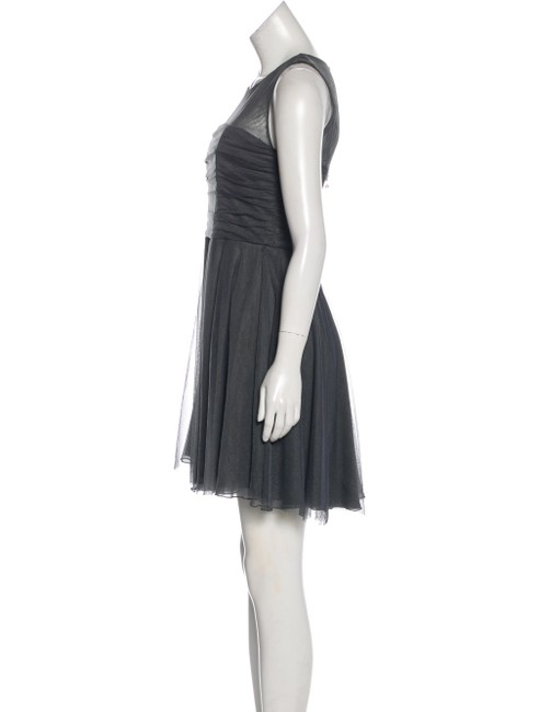 Alice + Olivia Grey Ruched Tulle Short Cocktail Dress Size 4 (S) Alice + Olivia Grey Ruched Tulle Short Cocktail Dress Size 4 (S) Image 2