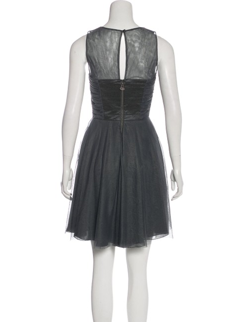 Alice + Olivia Grey Ruched Tulle Short Cocktail Dress Size 4 (S) Alice + Olivia Grey Ruched Tulle Short Cocktail Dress Size 4 (S) Image 3