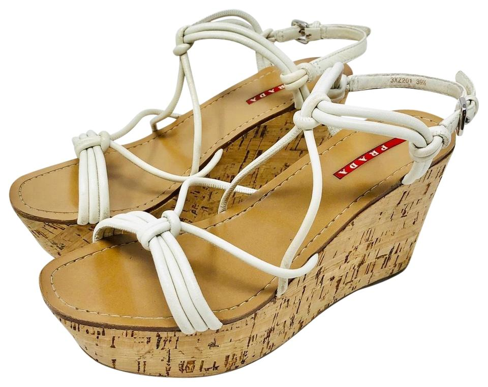 ba262d5aad29 Prada Leather and Cork Sandals Wedges Size EU 39.5 (Approx. US 9.5 ...