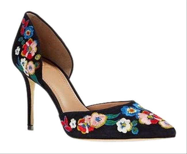 Item - Navy Embroidery Pumps Size US 7.5 Regular (M, B)