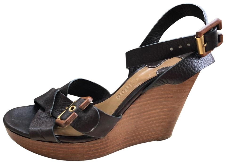 706e6c4450 Chloé Brown Leather Buckle Wedge Platform Sandals Size EU 37 (Approx ...
