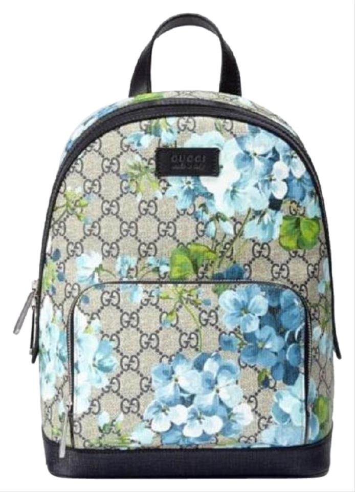1846d9285116 Gucci Box W Beige/Blue Bloom Small W/Box 427042 8493 Beige/Blue Gg Coated  Canvas Backpack