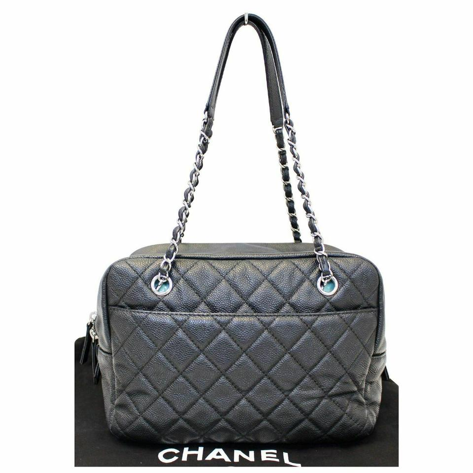 914946870120 Chanel Classic Camera Case Quilted Caviar Leather Medium Flap Shoulder Bag